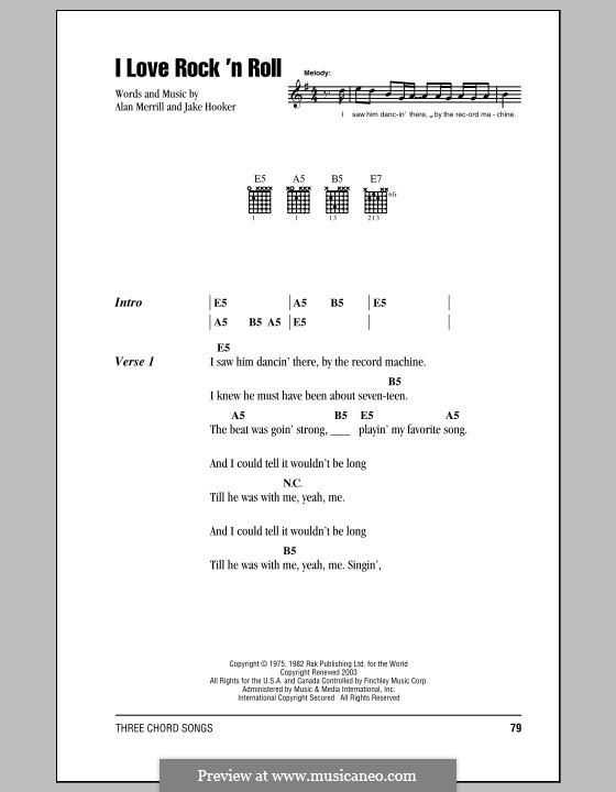 I Love Rock 'n Roll: Lyrics and chords by Alan Merrill, Jake Hooker
