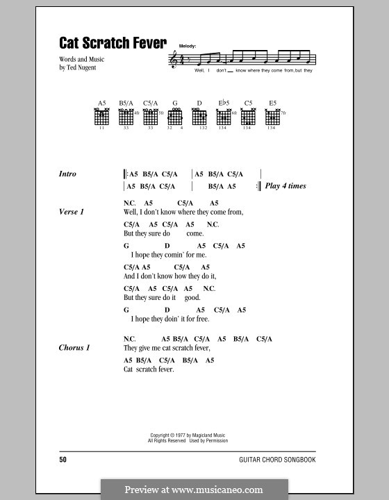 Cat Scratch Fever By T Nugent Sheet Music On Musicaneo