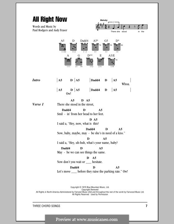 All Right Now (Free): Lyrics and chords by Andy Fraser, Paul Rodgers