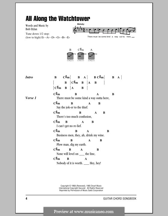 All Along The Watchtower By B Dylan Sheet Music On Musicaneo