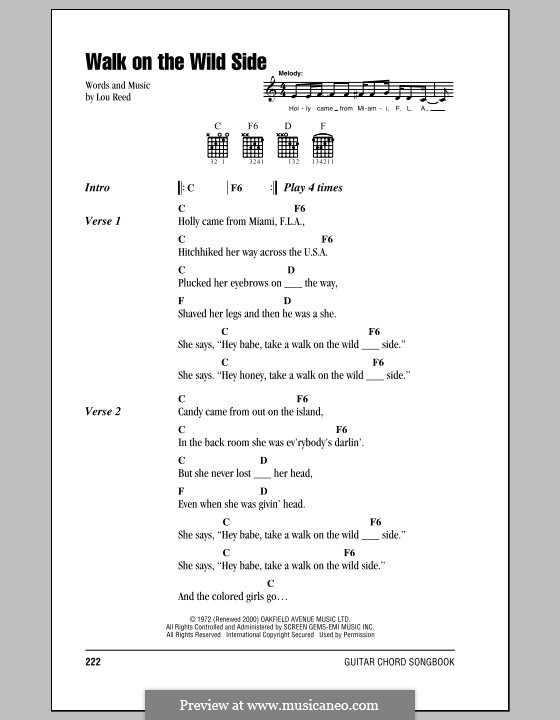 Walk On The Wild Side By L Reed Sheet Music On Musicaneo