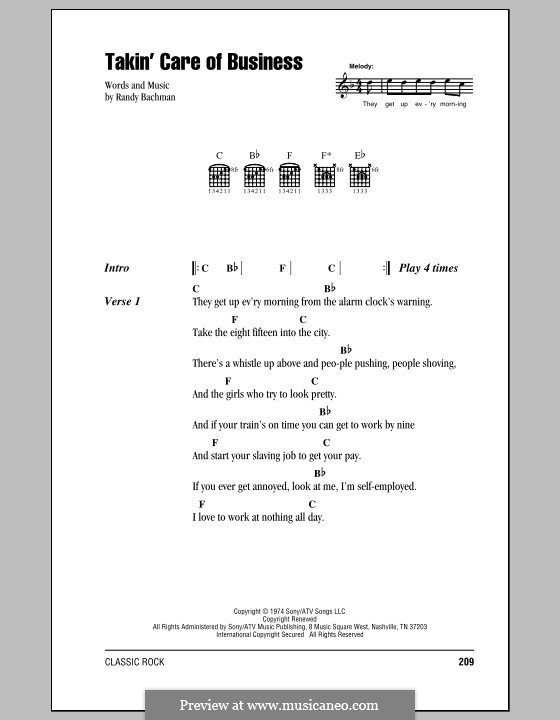 Takin' Care of Business (Bachman-Turner Overdrive): Lyrics and chords by Randy Bachman