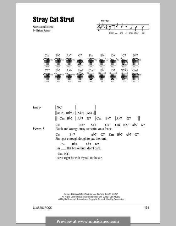 Stray Cat Strut (Stray Cats): Lyrics and chords by Brian Setzer