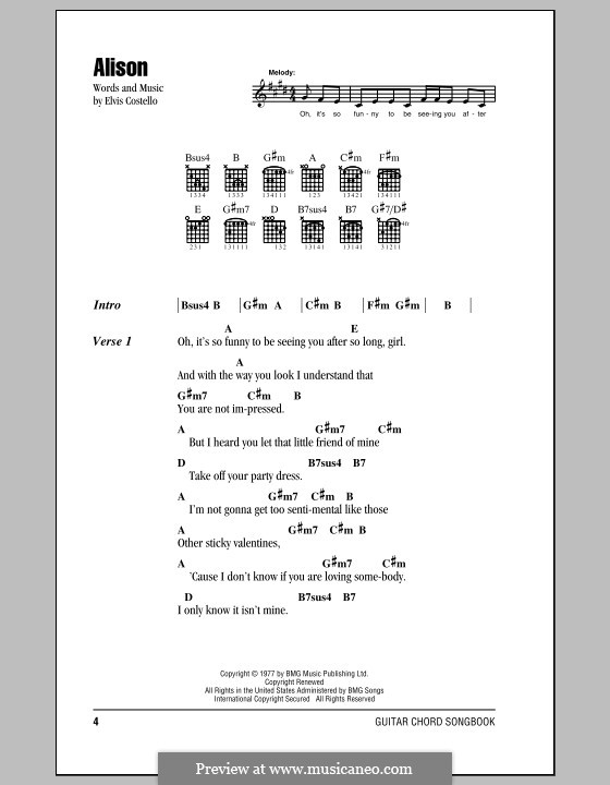 Alison By E Costello Sheet Music On Musicaneo