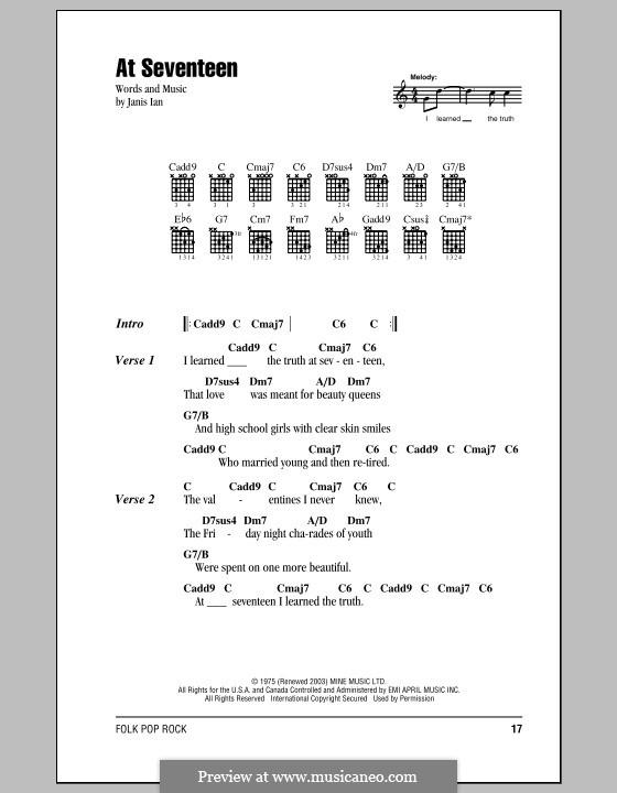 At Seventeen: Lyrics and chords by Janis Ian