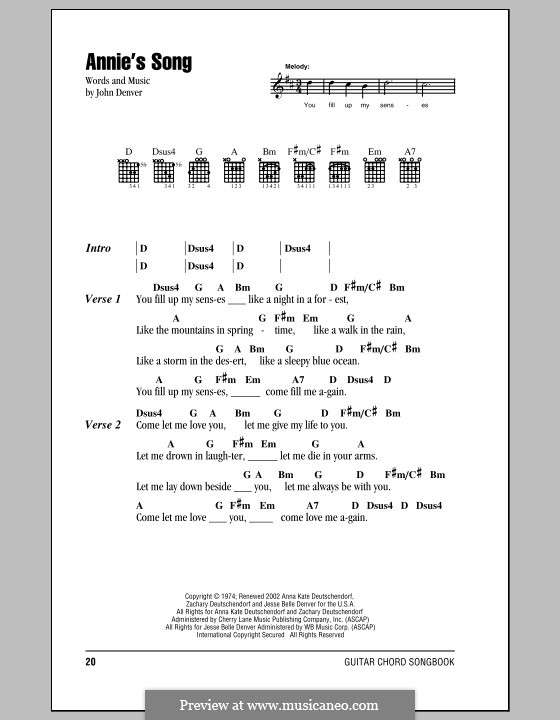 Annie's Song: Lyrics and chords by John Denver
