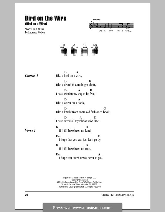 Bird on the Wire (Bird on a Wire): Lyrics and chords by Leonard Cohen