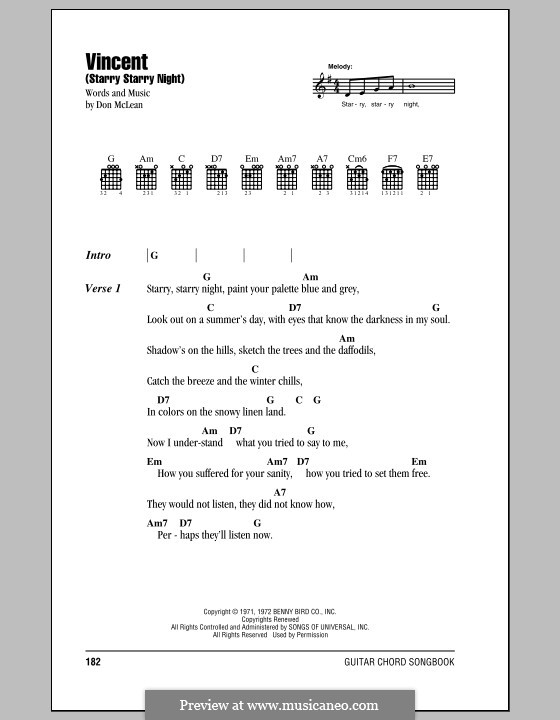 Vincent (Starry Starry Night): Lyrics and chords by Don McLean