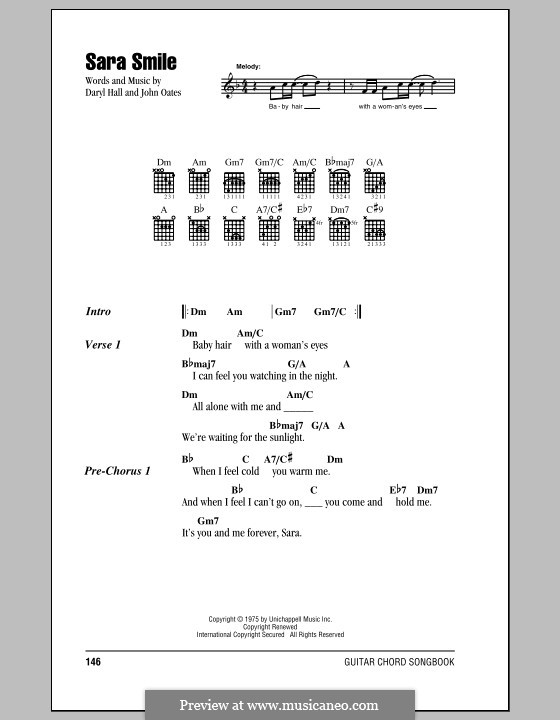 Sara Smile by D. Hall, J. Oates - sheet music on MusicaNeo