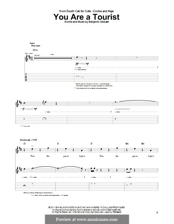 You Are a Tourist (Death Cab for Cutie): For guitar with tab by Benjamin Gibbard