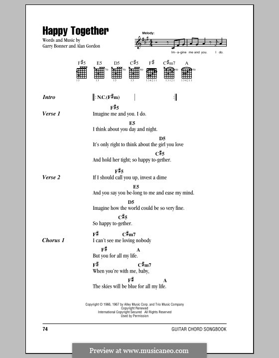 Happy Together (The Turtles): Lyrics and chords by Alan Gordon, Garry Bonner