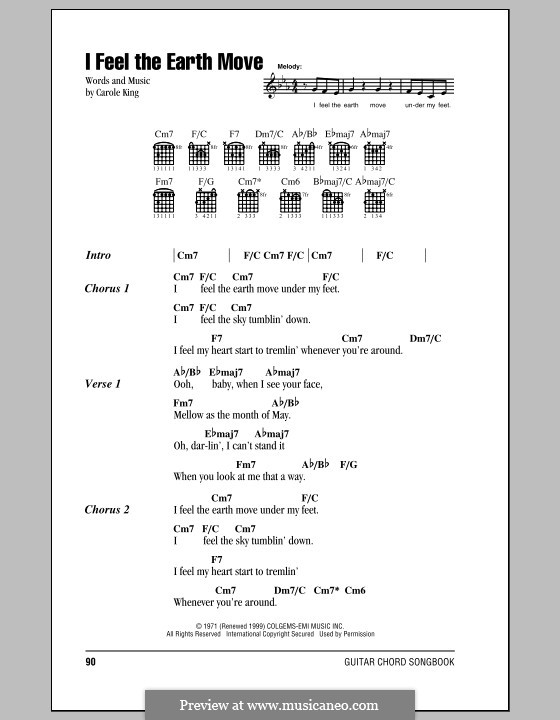 I Feel the Earth Move: Lyrics and chords by Carole King