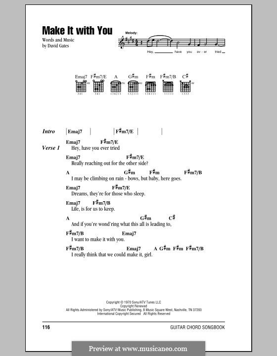 Make It With You Bread By D Gates Sheet Music On Musicaneo