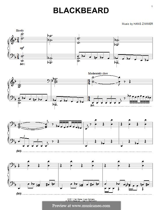 Blackbeard: For piano by Hans Zimmer