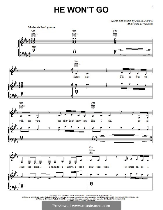 He Won't Go: For voice and piano (or guitar) by Adele, Paul Epworth