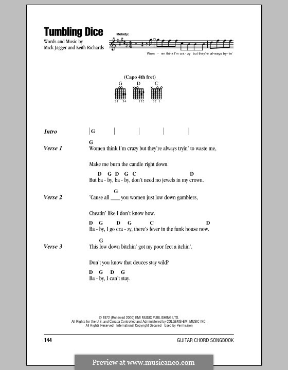 Tumbling Dice (The Rolling Stones): Lyrics and chords by Keith Richards, Mick Jagger