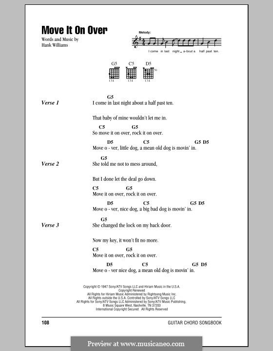 Move It on Over: Lyrics and chords by Hank Williams
