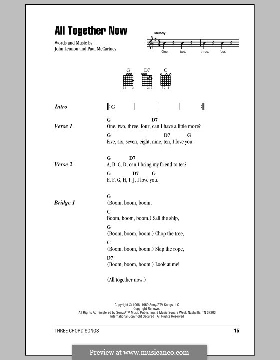 All Together Now (The Beatles): Lyrics and chords by John Lennon, Paul McCartney