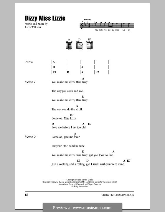 Dizzy Miss Lizzie (The Beatles) by L.E. Williams - sheet music on ...