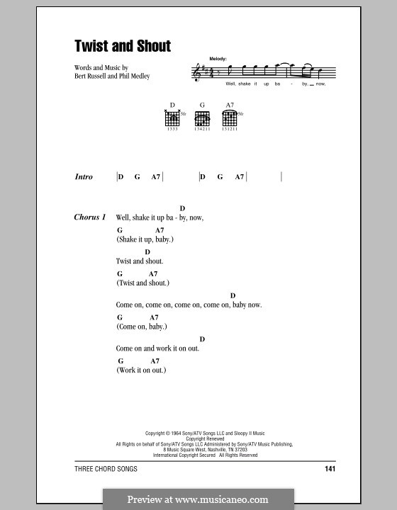 Twist and Shout (The Beatles): Lyrics and chords by Bert Russell, Phil Medley