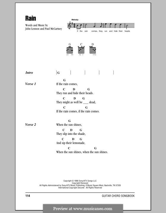 Rain (The Beatles): Lyrics and chords by John Lennon, Paul McCartney
