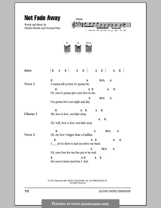 Not Fade Away (The Rolling Stones): Lyrics and chords by Charles Hardin, Norman Petty