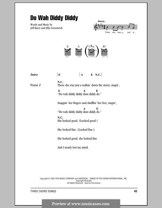 Do Wah Diddy Diddy (Manfred Mann): Lyrics and chords by Ellie Greenwich, Jeff Barry