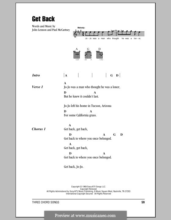 Get Back (The Beatles): Lyrics and chords by John Lennon, Paul McCartney