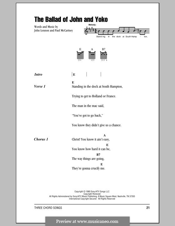 The Ballad of John and Yoko (The Beatles): Lyrics and chords by John Lennon, Paul McCartney