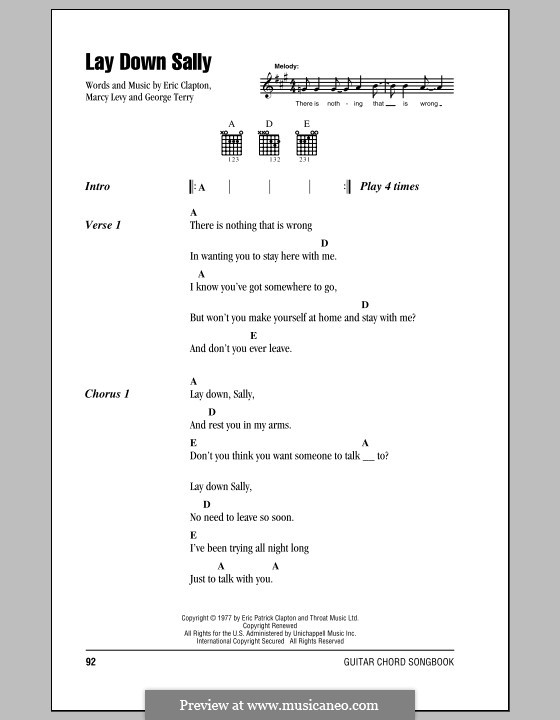 Lay Down Sally: Lyrics and chords by George Terry, Marcy Levy