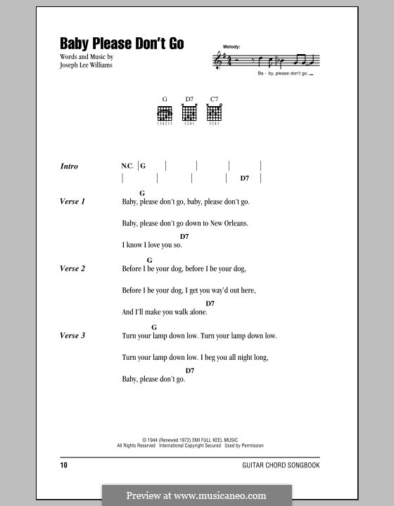 Baby, Please Don't Go (Them): Lyrics and chords by Joseph Lee Williams
