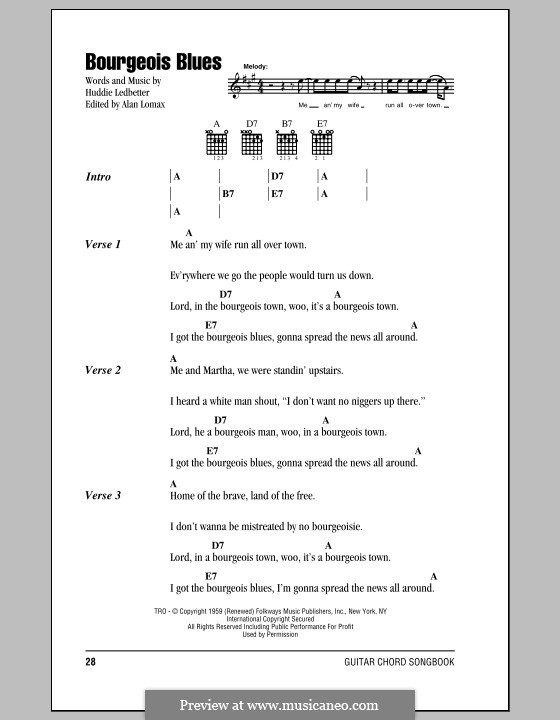 Bourgeois Blues (Lead Belly): Lyrics and chords by Huddie Ledbetter