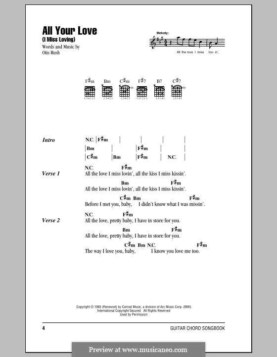 All Your Love (I Miss Loving) by O. Rush - sheet music on MusicaNeo