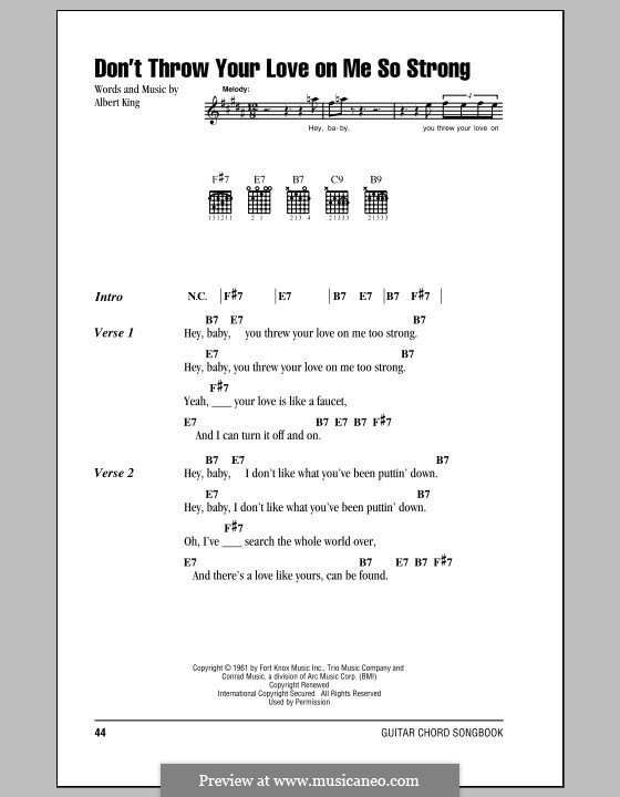 Dont Throw Your Love On Me So Strong By A King Sheet Music On