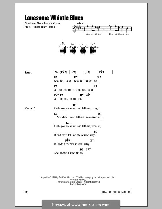 Lonesome Whistle Blues (Rudy Toombs): Lyrics and chords by Alan Moore, Elson Teat