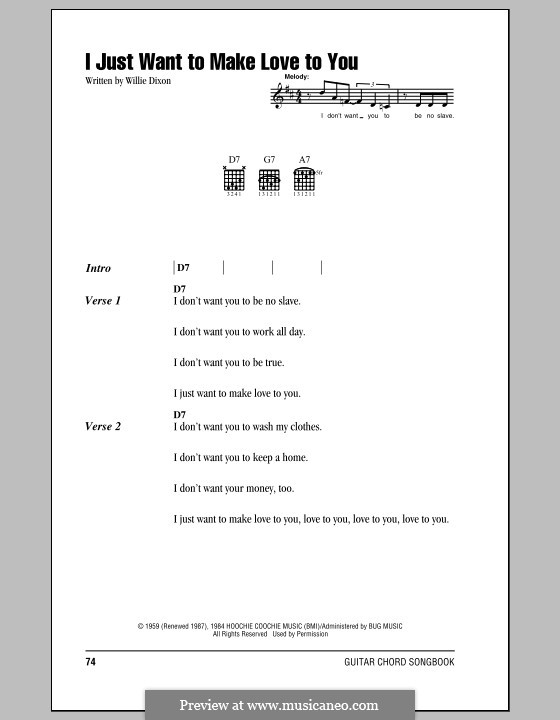 I Just Want to Make Love to You: Lyrics and chords by Willie Dixon