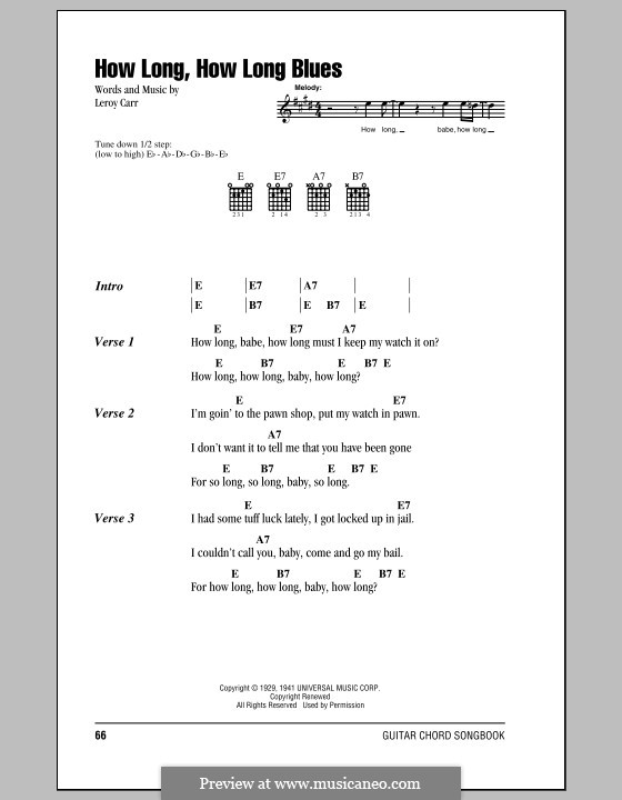 How Long How Long Blues by L. Carr - sheet music on MusicaNeo