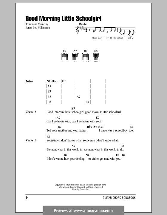 Good Morning Little Schoolgirl: Lyrics and chords by John Lee Williamson