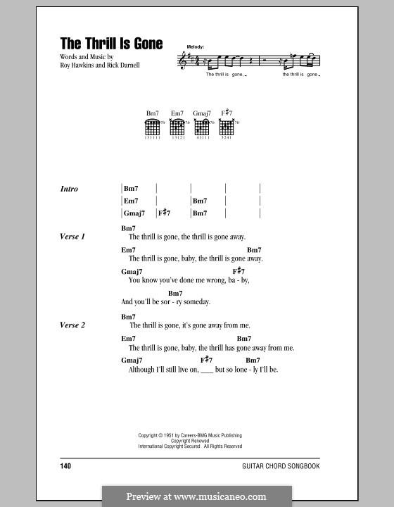 The Thrill Is Gone (B.B. King) by R. Darnell, R. Hawkins on MusicaNeo