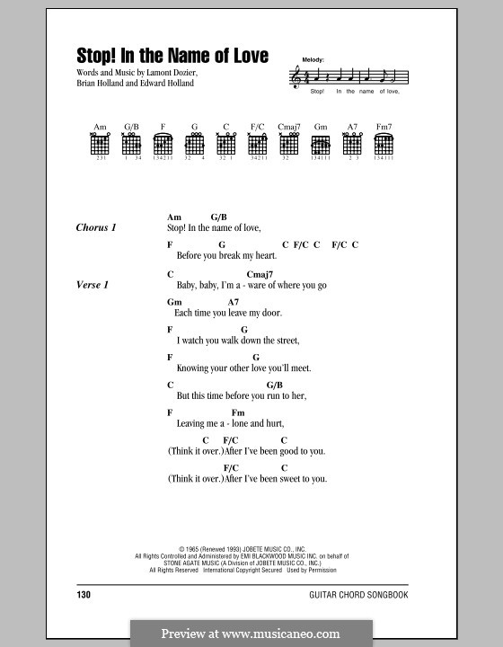 Stop in the Name of Love (The Supremes): Lyrics and chords by Brian Holland, Edward Holland Jr., Lamont Dozier
