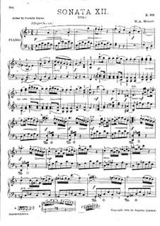 Sonata for Piano No.12 in F Major, K.332: With fingering by Wolfgang Amadeus Mozart
