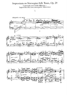 Improvisations on Two Norwegian Folk Tunes, Op.29: For piano by Edvard Grieg