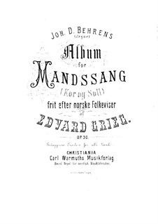 Album of Norwegian Folksongs, Op.30: Album of Norwegian Folksongs by Edvard Grieg
