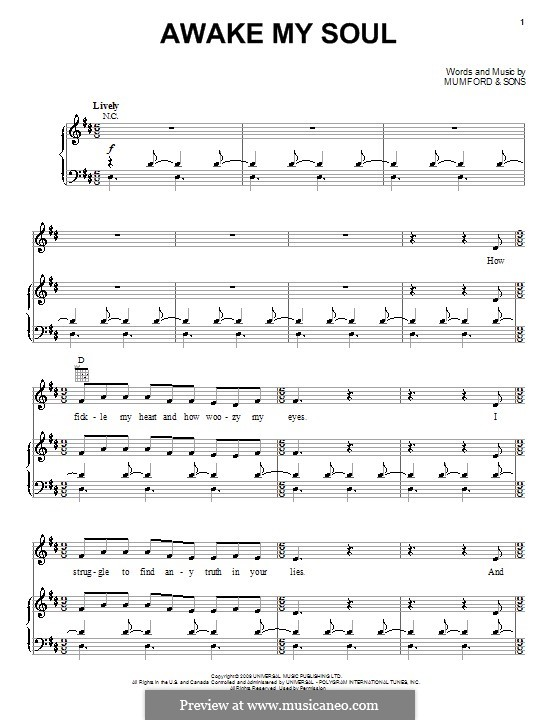 Awake My Soul (Mumford & Sons): For voice and piano (or guitar) by Marcus Mumford