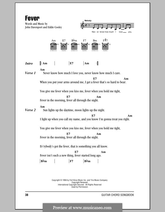 Fever by E. Cooley, J. Davenport - sheet music on MusicaNeo