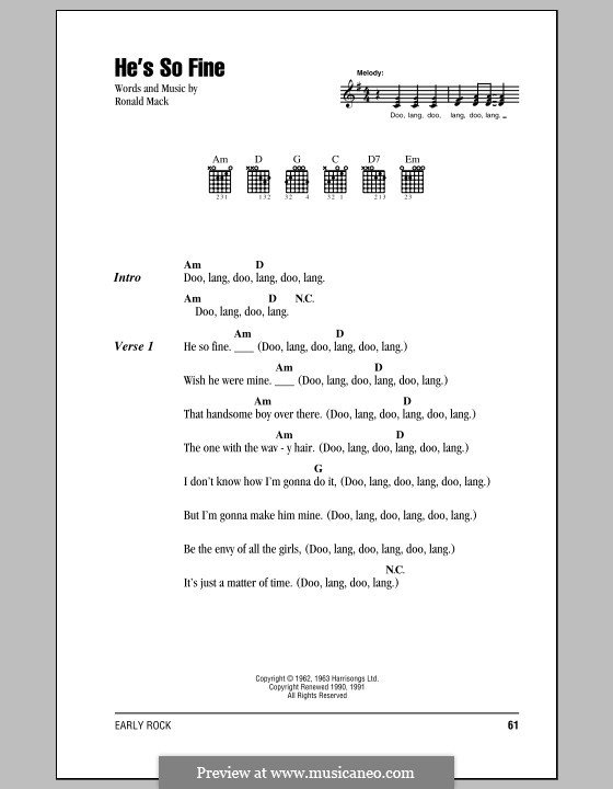 He's So Fine (The Chiffons): Lyrics and chords by Ronald Mack