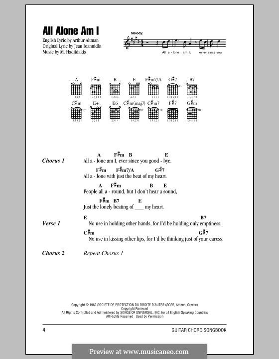 All Alone Am I Brenda Lee By M Hadjidakis Sheet Music On Musicaneo