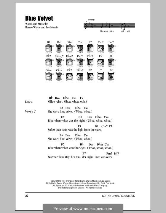 Blue Velvet: Lyrics and chords (Bobby Vinton) by Bernie Wayne, Lee Morris