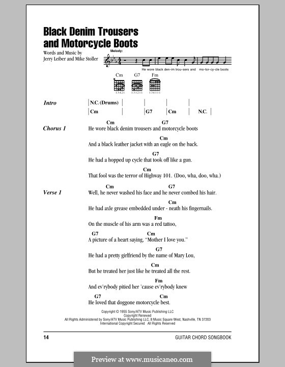 Black Denim Trousers and Motorcycle Boots (The Cheers): Lyrics and chords by Jerry Leiber, Mike Stoller