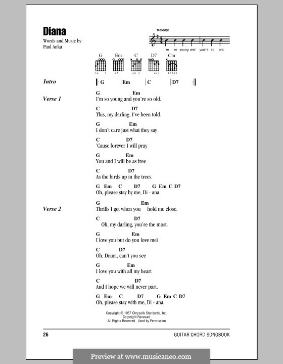 Diana By P Anka Sheet Music On Musicaneo